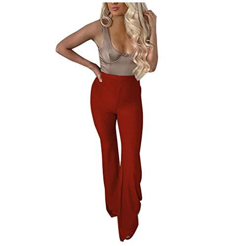 Zarupeng Paillettenhose für Damen Einfarbig Hohe Taillen Weites Bein Hosen Elastische Taille Schlaghose Freizeithose Skinny Basic Leggings
