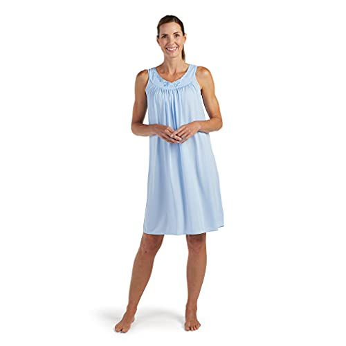Miss Elaine Nightgown - Women's Short Nylon Tricot Gown, Sleeveless Gown with Petal Embriodery at Round Neck (Small, Bluebell)