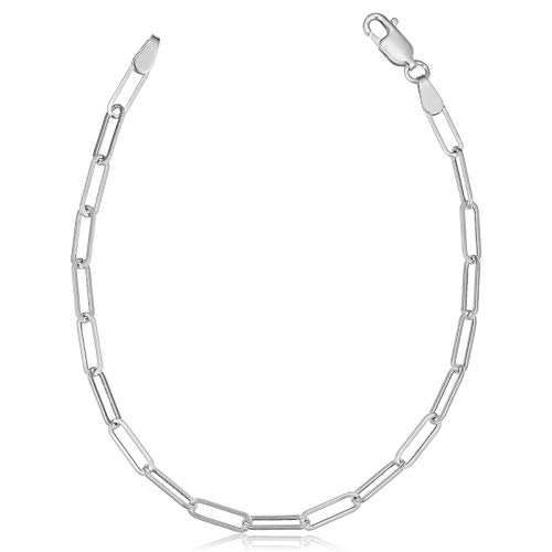 925 Sterling Silver Paper Clip Link Chain Necklace, Open Link Twist, Oval Anchor Link, Men Women, Made In Italy, Fine Trend Jewelry Silver and Yellow Gold 3MM 3.75MM 4.5MM 18-30
