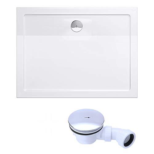 doporro Duschtasse Duschwanne Faro2W 100x120x4 flach inkl. Ablaufgarnitur aus Acryl in Weiß Rechteckig DIN-Anschlüsse für bodenebene Montage geeignet