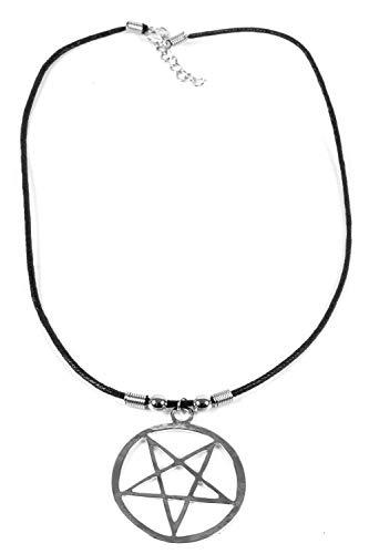 Herren Damen Halskette umgedrehtes Pentagramm Anhänger Edelstahl