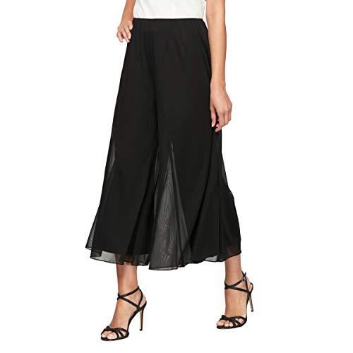 Alex Evenings Women's Cropped Wide Leg Dress Pant (Petite Regular Plus Sizes), Black, L