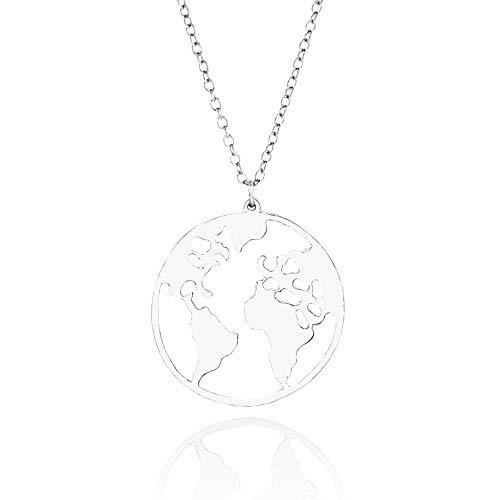 WikiMiu Collar para Mujer, Mapa del mundo colgante, Joyería de personalidad de moda