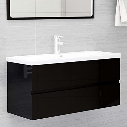 Tidyard Mueble de Baño con 1 Cajón Armario para Lavabo de Baño Armario Almacenamiento de Aseo con Lavabo Empotrado Aglomerado Negro Brillante 100 x 38,5 x 45 cm