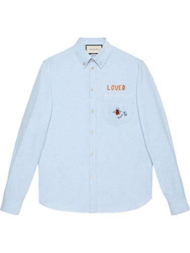 Luxury Fashion | Gucci Heren 574534ZABZS4910 Blauw Katoen Overhemden | Seizoen Outlet