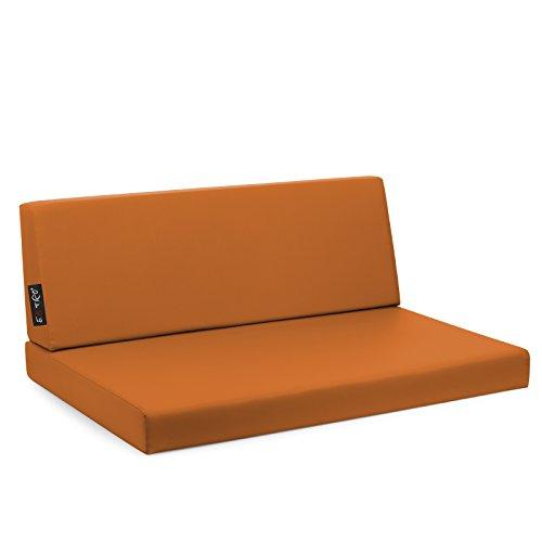 EXTOITALY Set Reforma Taupe Coussins Tissu Hydrofuge déhoussable mis.82 x 122 épaisseur cm.11 Dossier 40 x 122 Orange