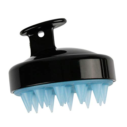 Rosenice - Massagegerät für die Kopfhaut, Massage-Bürste mit Bürstenkopf aus weichem Silikon (schwarz)