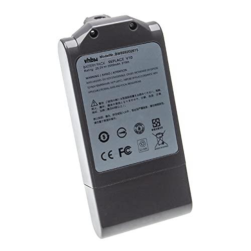 vhbw Batería recargable compatible con Dyson V10 Cyclone series, V10 Total Clean aspiradora, robot limpieza (2000 mAh, 25,2 V, Li-Ion)
