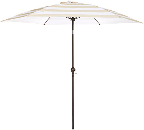 AmazonBasics JC014 Patio Umbrella-9-Foot, Striped Beige/White
