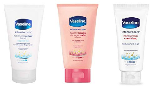 Vaseline Intensive Care Hand Cream Set of 3. Hand Cream + Anti Bac 75ml, Healthy Hands Stronger Nails 75ml, Advanced Repair Hand Cream 75ml. Perfect for the Bathroom or in the Bag on the Go!