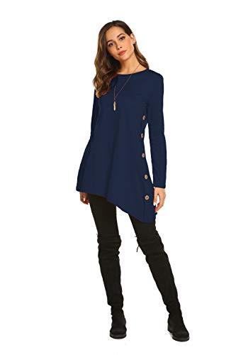 Long T Shirt Dresses For Women Button Oblique Asymmetric Irregular Hem (S, Dark Blue)
