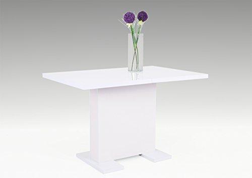 lifestyle4living Esstisch, Säulentisch, Küchentisch, Esszimmertisch, Tisch, weiß, 120 x 75 cm, rechteckig, Hochglanz