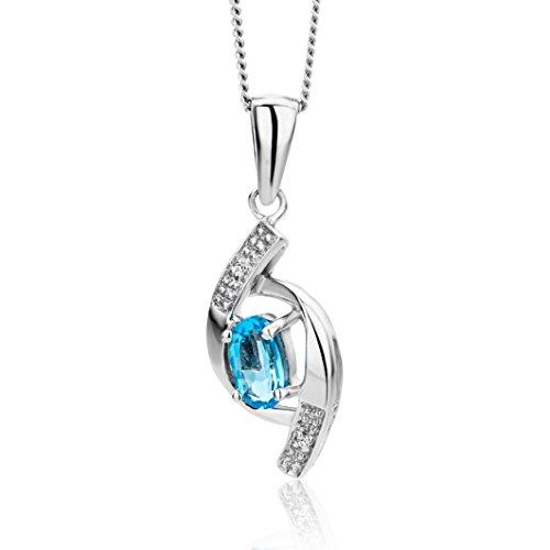 Miore - Collar de mujer de oro blanco (9k) con 3 topacios y diamantes, 45 cm