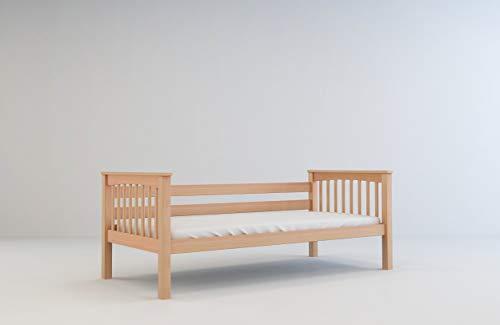 furnneo Kinderbett 90x200 Jugendbett Juniorbett Bett inkl. Lattenrost, aus Buche massivholz (Natur, Ohne Bettkasten)