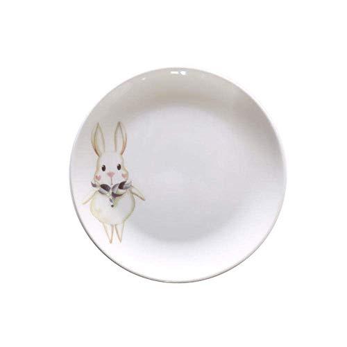 N&G Daily Equipment Ceramic Plate Ceramic Dinner Dish Plate Cartoon Animal Pattern Steak Fruit Salad Spaghetti Dessert Plates Home Kitchen Tableware 4Pcs-C