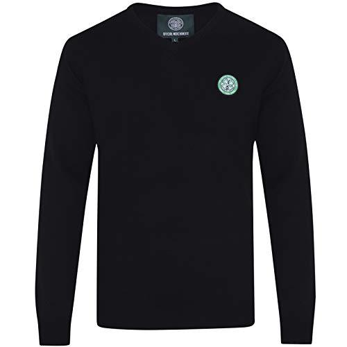 Celtic FC Official Soccer Gift Mens Crest Knitted V-Neck Jumper Black XL