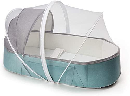 angelHJQ Cama de viaje plegable portátil con cinturón de seguridad y cubierta resistente al viento, colchón de corte de esponja 3D, adecuado para 0 – 12 meses, 85 x 35 x 20 cm (azul/rosa)