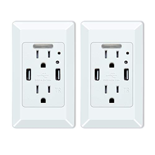 NineLeaf 4.2A LED Night Light Outlet Wall Adapter with 2 A...