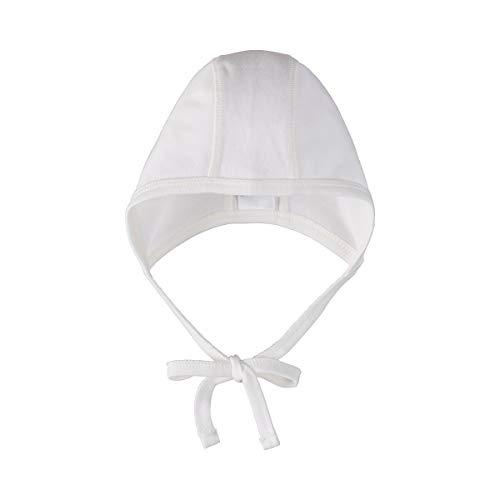 Bornino GOTS Erstlingsmütze - unifarbene Babymütze für Neugeborene - aus Reiner Bio-Baumwolle in Interlock-Qualität - mit Bindebändern - weiß