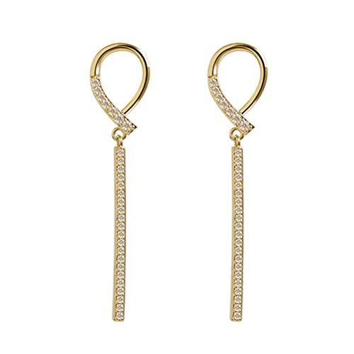 Holibanna 1 par de brincos pendentes de strass para noivas de cristal Lustre de noiva com borlas longas, brincos de linha incrustada vintage para festa de casamento (dourado)