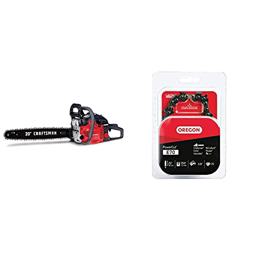 Craftsman CMXGSAMY426S 46cc 2-Cycle Full Crank 20-Inch Gas Powered Chainsaw with Carrying Case, 16-in, Liberty Red & Oregon E70 20-Inch PowerCut Chainsaw Chain - Fits Echo, McCulloch and More