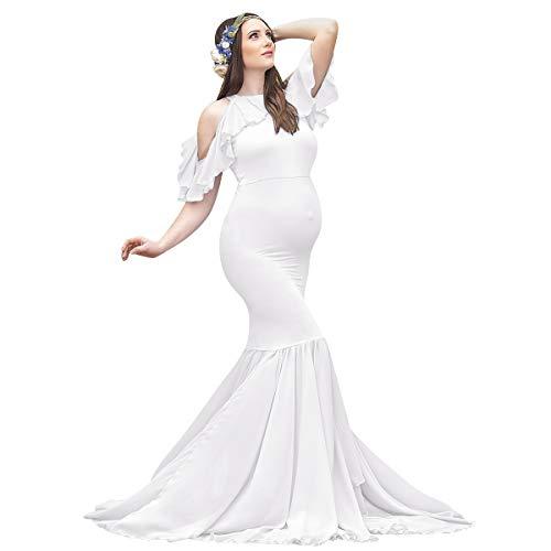IBTOM CASTLE - Vestito da gravidanza Shooting fotografico, elegante, vestito per maternità, maniche corte, con spalline, per fotografia, matrimonio, serata, cerimonia, baby shower, bianco, L
