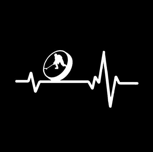 Fahrzeug-Autoaufkleber Mode Herzschlag Linie SPORT BALL EISHOCKEY Decor Auto Aufkleber Silhouette Vinyl 16,9 * 8 CM 2 Stück