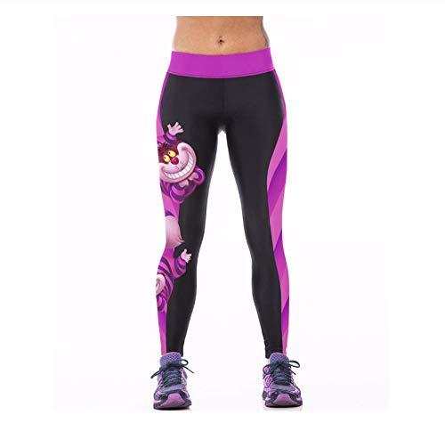 WUXEGHK Niña Mujer Cheshire Cat 3D Impresiones Cintura Alta Correr Fitness Sport Leggings Jogger Yoga Pantalones Talla:S