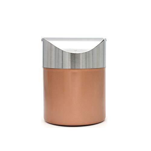 Cubo de basura pequeño para escritorio con tapa, cubo de basura pequeño para encimera, para oficina, baño, cocina, cesta de basura de 1,5 l, color dorado champán