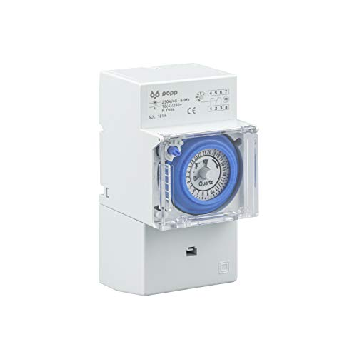 POPP® Electric temporizador reloj analogico SUL-181H 230 V 45 – 60 Hz 24 horas 35 mm DIN Rail