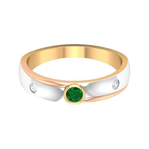 Banda solitaria esmeralda de 3,00 mm, banda de diamante HI-SI de 2,00 mm, anillo de boda de oro de 3 tonos (calidad AAAA), oro de 14 quilates, Metal, Emerald Diamond,