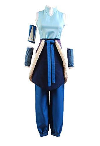 prettycos Damen Anime Cosplay Korra Kostüm Erwachsene Uniform Tuch Fasching Halloween Karneval Cosplay Outfit Komplettset Gr. Weiblich-L, blau