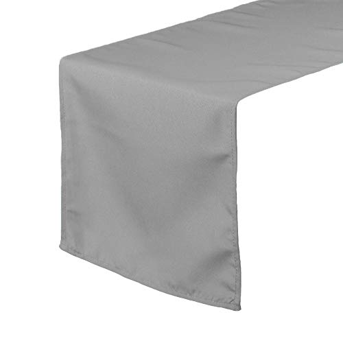 Your Chair Covers - 14 x 108 inch Polyester Table Runner Gray, Table Runner for Weddings, Events, Hotels and Catering Services