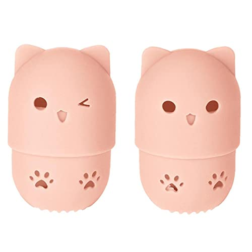 Yililay Makeup Sponge Case Silicone Portable Beauty Blender Protective Travel Case with Cute Cat Shape Reusable Washable for Home Hotel Holder Drying Rack Pink 2 PCS