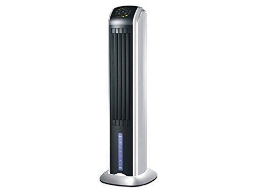 PURLINE RAFY 81 Climatizador evaporativo con pantalla LED, lamas oscilantes, 70 W, 0 Decibeles, Plástico, ABS, Negro y plata