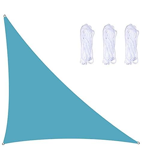 YHYL Garden Sun Shade Sails, Triángulo Sol De La Vela Sombra con 3 Cuerdas De 2,5 M, Impermeable Y Bloque UV, Triángulo Doble para Patios Al Aire Libre Tapa De Toldos,Light Blue,5m x 5m x 7m