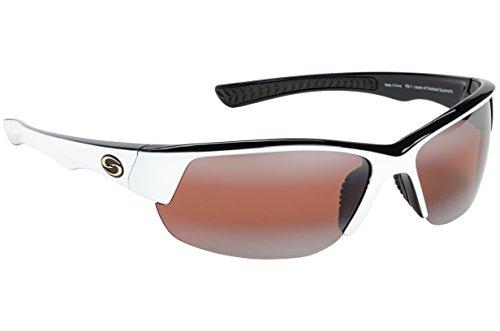 Strike King S11 Optics Semi Rimless Polarized Sunglasses (White-Black Two Tone Amber)
