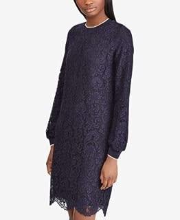 RALPH LAUREN Womens Navy Lace Stripe Trim Long Sleeve Crew Neck Above The Knee Shift Party Dress US Size: 16