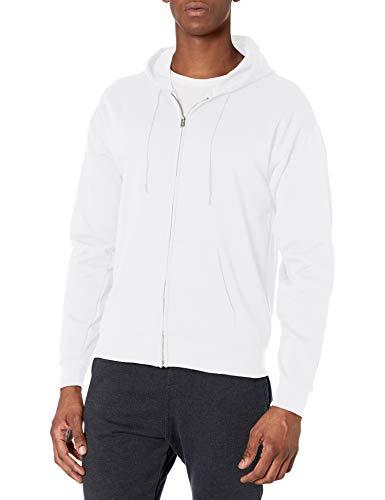 Hanes Men's Full-Zip Eco-Smart Fleece Hoodie, White, Medium