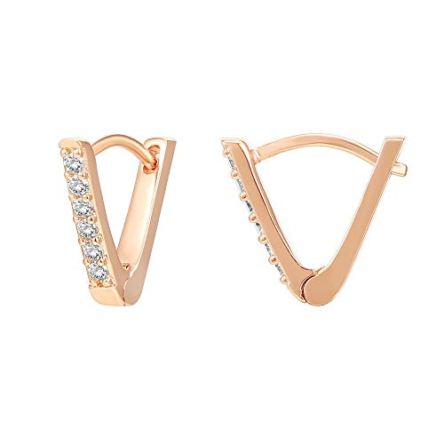 PAVOI 14K Gold Plated Sterling Silver Post V-Shaped Huggie Earrings - Cubic Zirconia Studded Small Hoop Earrings for Women in Rose Gold Plating