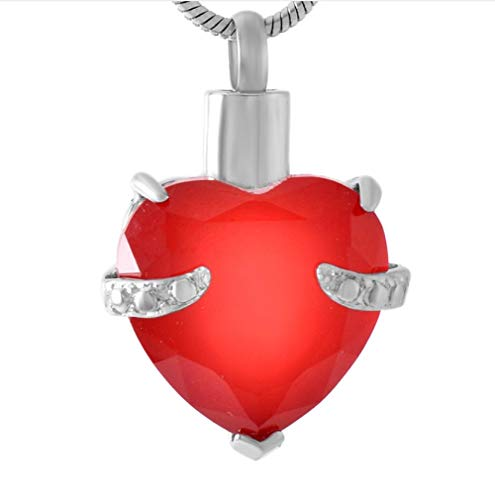 N / D 316L Collar de cremación con Piedra de Nacimiento con Forma de corazón Rojo, joyería de Moda para Mujer, urna de Recuerdo, Colgante conmemorativo de Cenizas