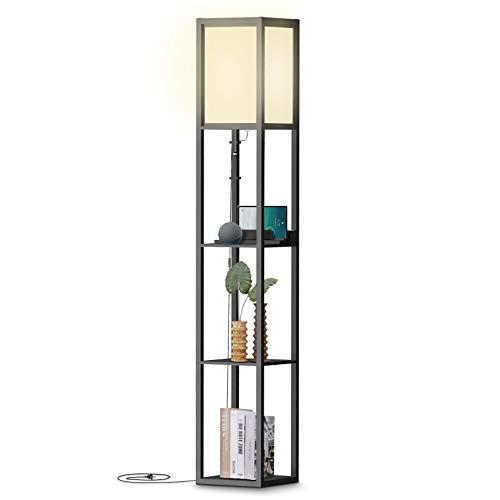 Stehlampe mit Regalen, Modern hohe LED Standleuchte-2 USB- Anschlüsse- Stehlampe Holz, Schwarz für Wohnzimmer, Schlafzimmer und Büro (Keine Glühbirne enthalten)