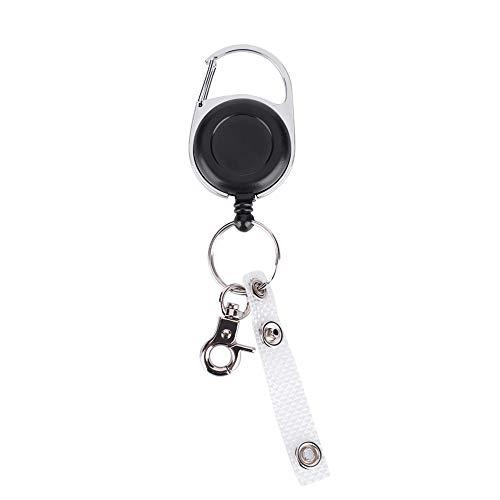 bizofft Com cabo retrátil e clipe de gatilho, chaveiro, chaveiro preto, para chaves, cartões, bolsas de mão