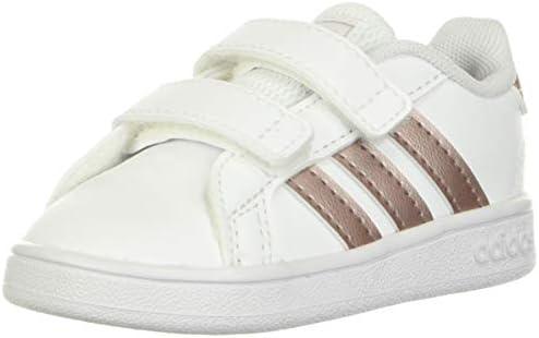 adidas baby boys Grand Court Kids Sneaker White Copper Metallic Glow Pink 5 Toddler US product image