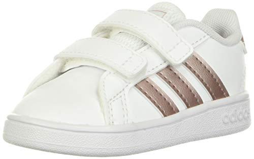 adidas Grand Court Tênis unissex infantil, White/Vapour Grey Metallic/Light Granite (Velcro), 6.5 Toddler