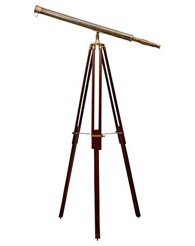 Aubaho Telescopio Binocular con trípode de Madera Latón bronceada Es