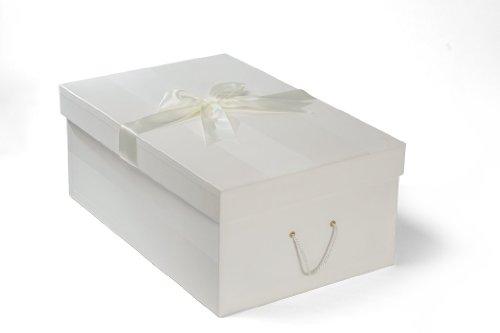 Extragroße Brautkleidbox X Large 'CHELSEA IVORY' (75 cm x 50 cm x 30 cm) zur Aufbewahrung von Hochzeitskleidern, zum Schutz, zur Konservierung, zur Verhinderung von Vergilbung, handgefertigt in Großbritannien vor pH-neutralem Material. Beinhaltet säurefreies Gewebe. Auf Lager – CHELSEA IVORY