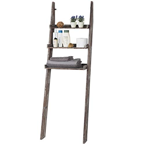 MyGift 3-Tier Rustic Torched Wood Over-The-Toilet Wall-Leaning Ladder Bathroom Storage Shelves
