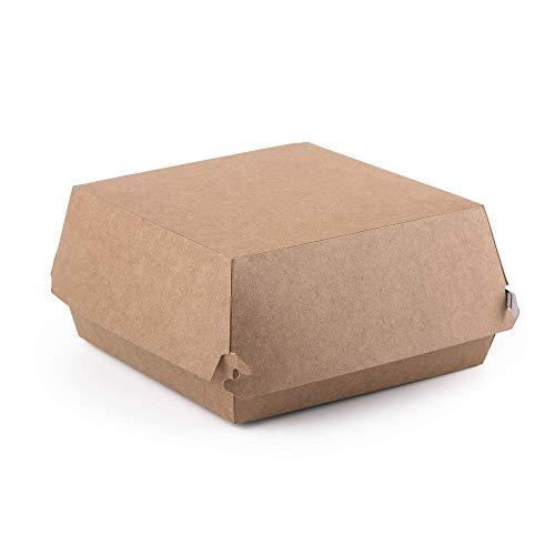 Paquete de 50 cajas para hamburguesas Kraft tamaño L, conte