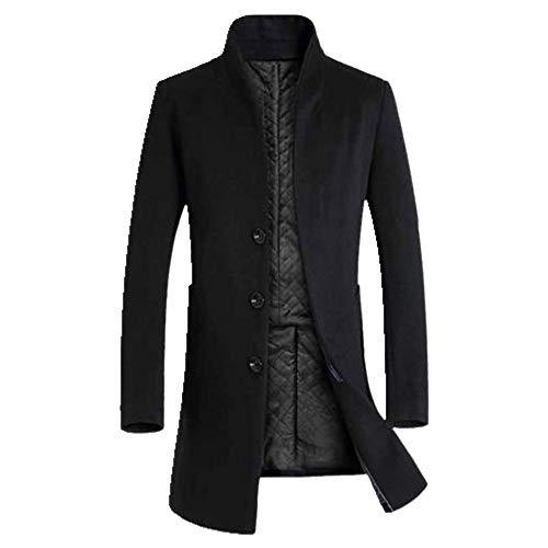Los hombres de invierno de manga larga de cuello de pie botones bolsillos caliente gabardina abrigo de los hombres chaqueta de color sólido con largo